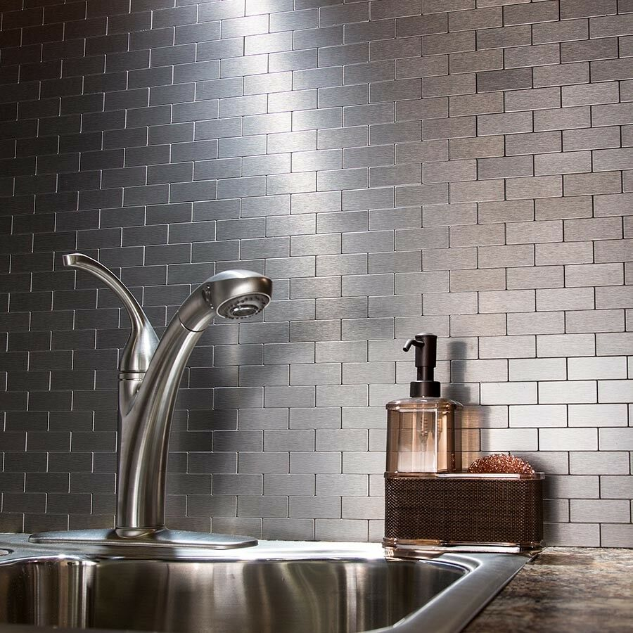 Self Adhesive Wall Tiles Peel And Stick Backsplash Kitchen: Peel And Stick Tile Self Adhesive Silver Stainless Metal