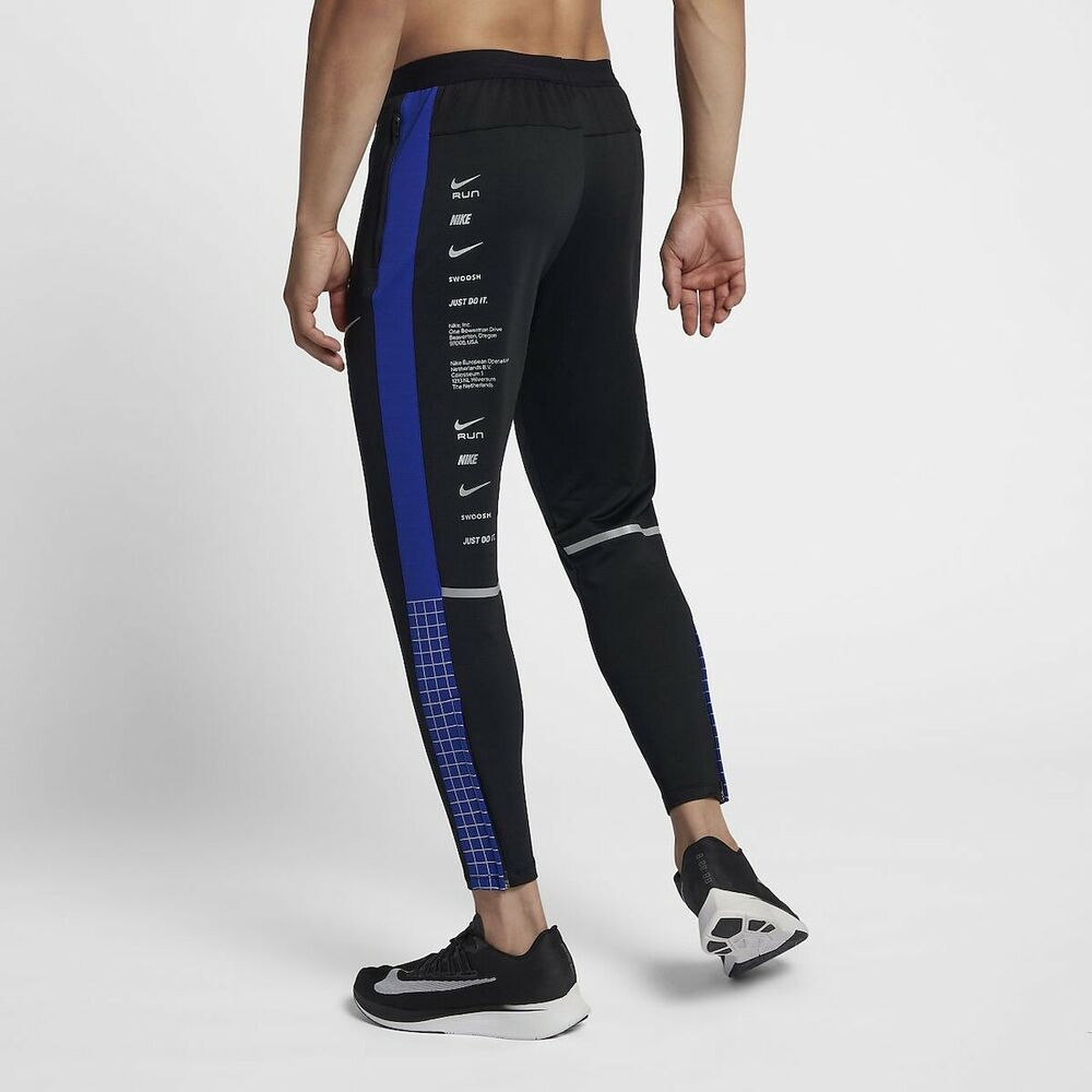 a63de77e724e Details about NIKE DRY PHENOM RUNNING PANTS BLACK ROYAL CONE REFLECTIVE  SILVER BQ8189 010 sz M