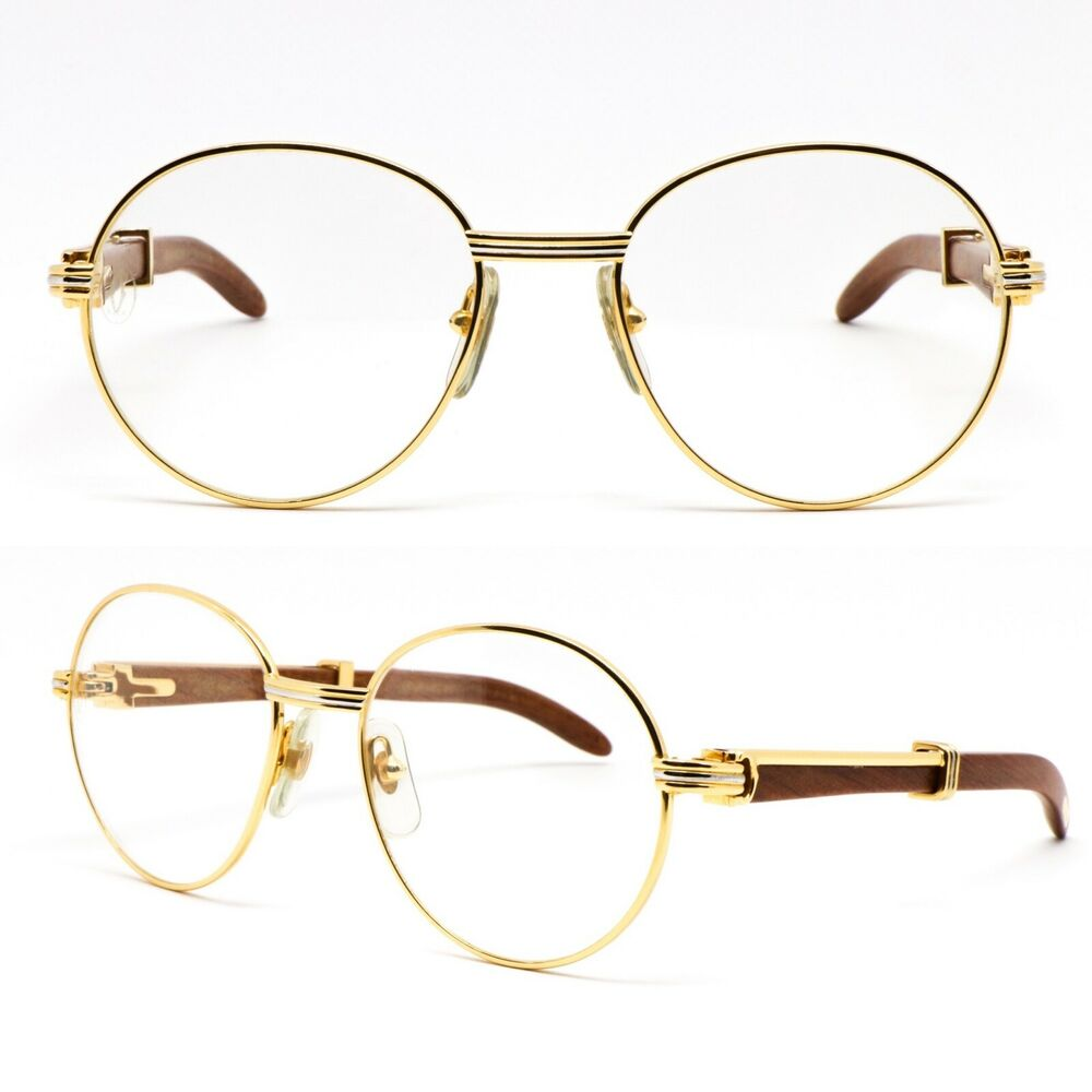 aee13a1163c Details about Glasses Cartier Bagatelle Bubinga Wood Vintage Eyewear Frame  Glasses 1980 s