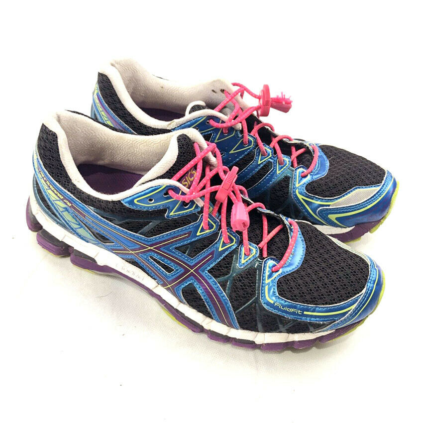buy popular 46c2a 789da Details about ASICS Gel Kayano 20 Running Shoes Womens Black Blue Purple  Green T3N7N Size  9