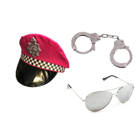 img-Pink Check Police Hat & Police Badge & Handcuffs & Glasses Fancy Dress Hen Night