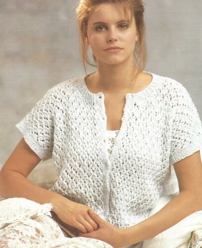LADIES DOUBLE KNIT SLEEVELESS CARDIGAN KNITTING PATTERN 32/42 INCH (1249)