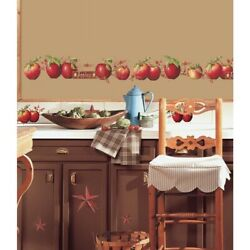 New COUNTRY APPLES Stars & Berries 40WALL DECALS Border Stickers Kitchen Decor