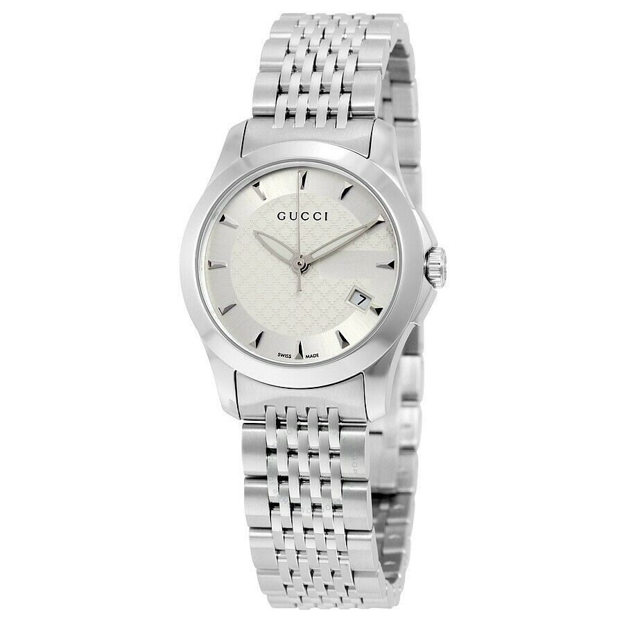 e7d06bdf34 Details about Gucci G-Timeless Silver Dial Stainless Steel YA126501 27mm  Ladies Watch