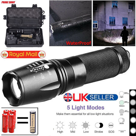img-UK Police LED Flashlight Tactical 8000LM T6 Zoomable Torch Lamp 5 Mode 18650 AAA
