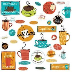 CAFE 32 BiG Wall Stickers COFFEE CUP JAVA Kitchen Room Decor Decals ESPRESSO New