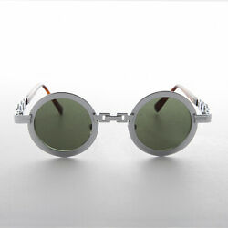 5b912d313a96 Round vintage sunglass silver metal chain link frame green lens - Link