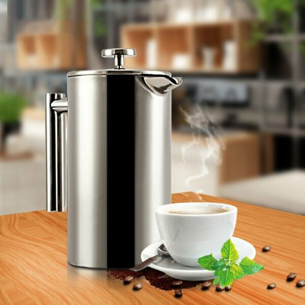 French Press 1 L Kaffeebereiter doppelwandig mit Warmhaltefunktion Kaffeekanne N