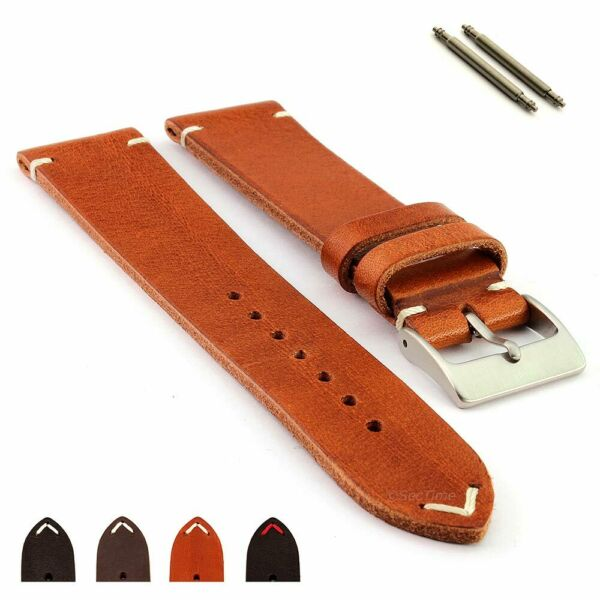 Men's Two-Piece Genuine Leather Watch Strap Band SS Buckle 18 19 20 22 Mirage MM