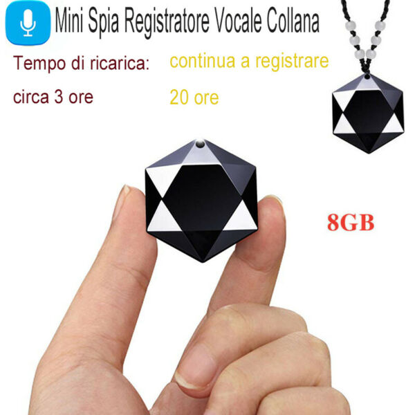 Micro Mini Registratore Vocale Spia Microspia Audio Recorder Ambientale Collana