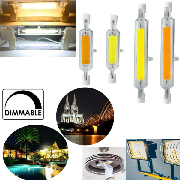 R7s LED 78mm 118mm 7W 12W 15W 25W Dimmable Bulb Ceramic Glass Tube Light Lamp SS