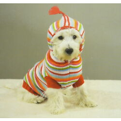 Casual Canine Striped Hoodie Sweater Dog Puppy Pet Clothes Acrylic Knit NEW