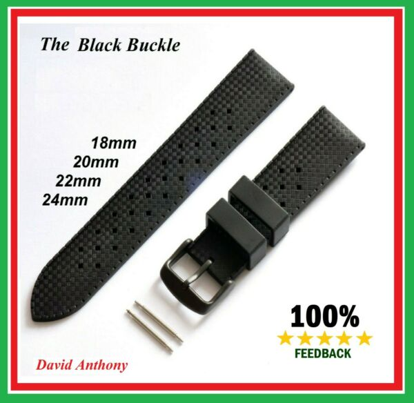 BLACK BUCKLE TROPICAL STYLE DIVERS RUBBER WATCH STRAP -FITS SEIKO,OMEGA,CITIZEN