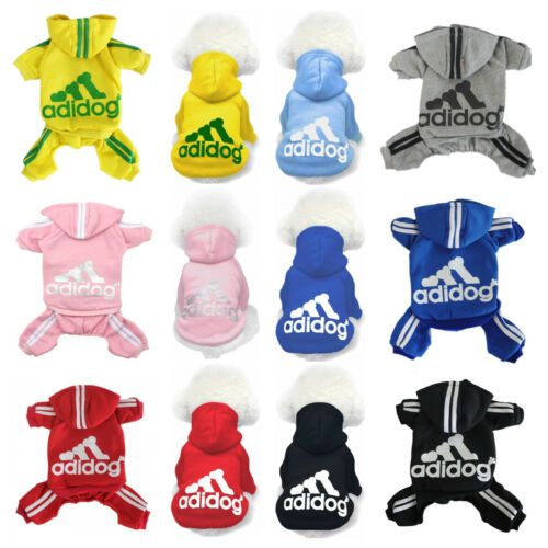 New Adidog Dog Hoodies Winter Warm Sports Apparel Coat Clothes For Pet Puppy