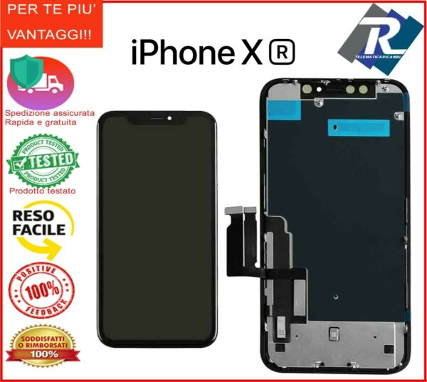 Display LCD Retina HD Touch Screen Vetro Schermo Apple iPhone XR