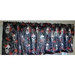 Skulls Webs & Roses Valances, Curtains or Swags