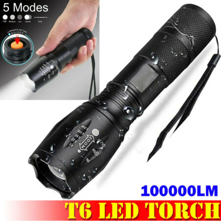 img-100000LM Waterproof T6 LED Torch Tactical Military Zoomable Flashlight Headlamp