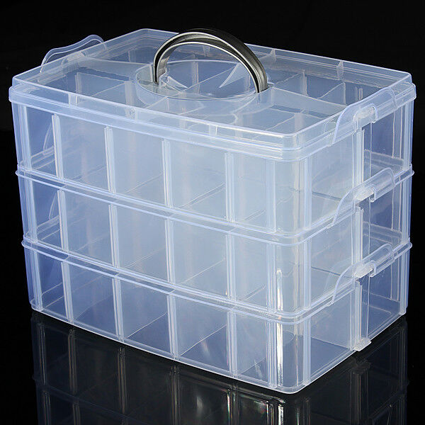 Clear Plastic Craft Perles Bijoux Stockage Organisateur Compartment Box