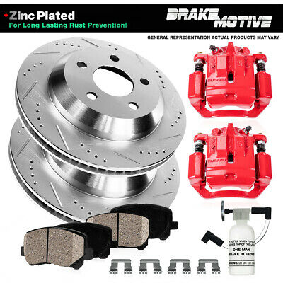 For Dodge RAM 2500 3500 Rear Red Brake Calipers And Rotors + Pads