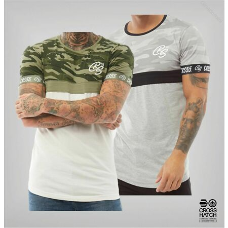 img-Mens Crosshatch Short Sleeve Rib Crew Neck Jersey T Shirt Sizes from S to XXL