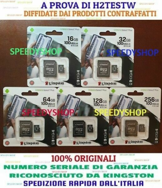 KINGSTON MICRO SD 16 32 64 128 256GB CLASS 10 PLUS MODELLO 2020 SCHEDA MEMORIA