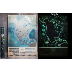 Kyпить Glow in The Dark Scratch Off North America. Deluxe Map Personalized Journal Log на еВаy.соm