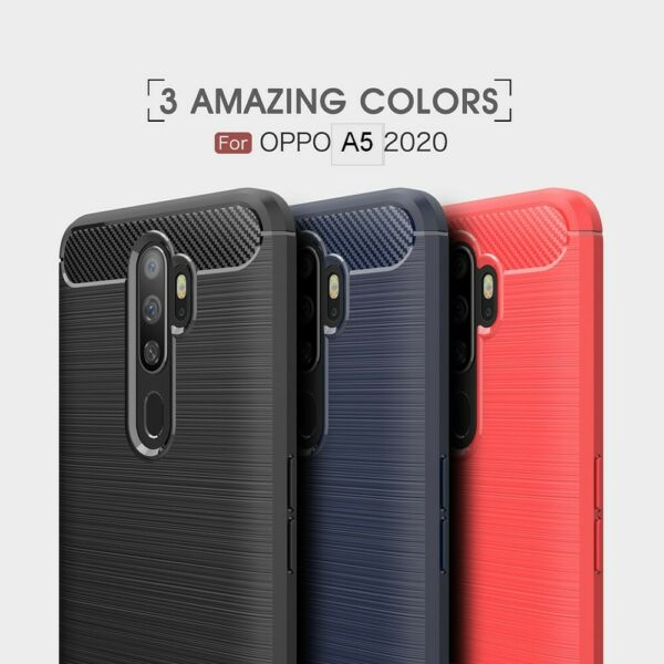 POUR OPPO A5 2020 COQUE HOUSSE ETUI CARBONE SILICONE GEL CASE COVER