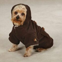 East Side Collection Corduroy Toggle Dog Pet Coat Jacket Chocolate Brown NEW