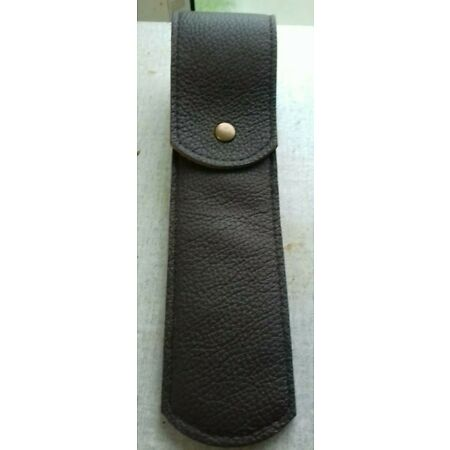img-Gun bolt case. Brown leather with belt loop and a stud.