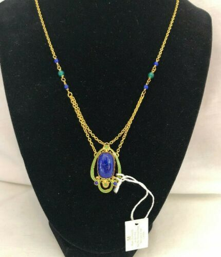 Metropolitan Museum MMA Arts & Crafts Lapis & Green Onyx Hand Enameled Necklace