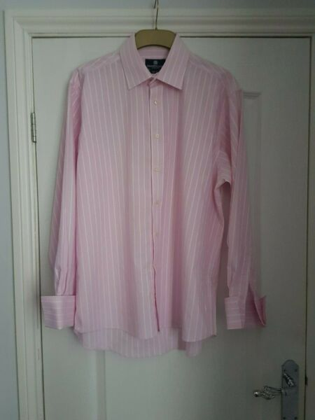 Men's Dehavilland Pink Stripe Shirt - Size 16.5