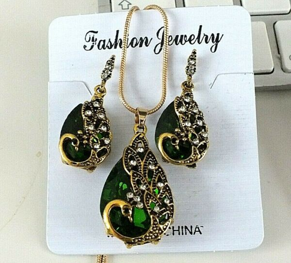 CHINESE GREEN CRYSTAL SILVER PEACOCK BIRD PIERCED HOOK EARRINGS JEWELLERY PARTY