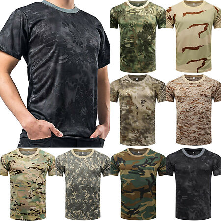 img-UK Mens Camo T Shirt Tactical Military Summer Camouflage Top Army Combat Fishing