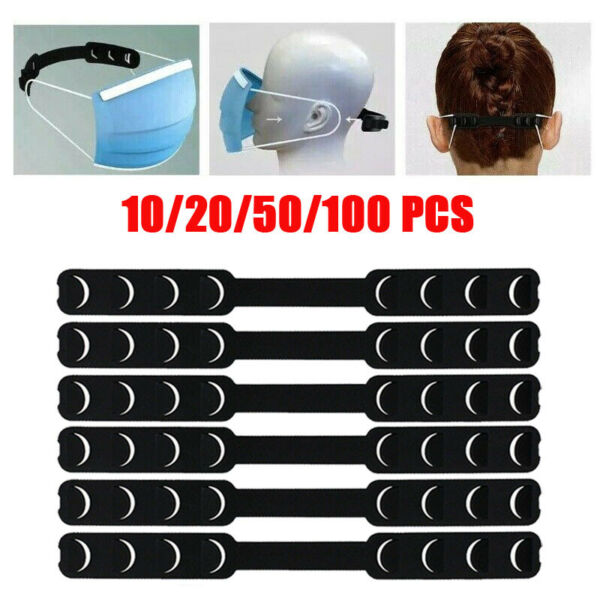 Adjustable Face Shield Ear Grips Extension Hooks Buckle Strap Extender 10-100pc