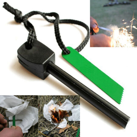 img-1 Magnesium Flint Stone Fire Starter Lighter Emergency Survival Camping Gear Kit