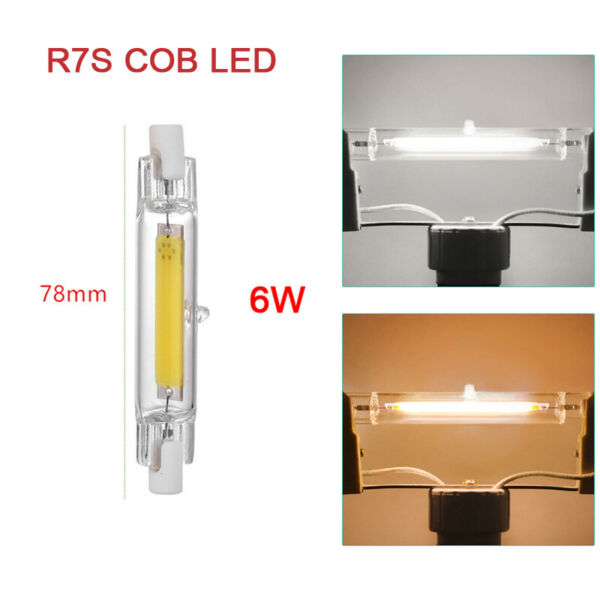 Dimmable R7s COB LED 78mm 6W Security Flood Light Replaces Halogen Bulb White UK