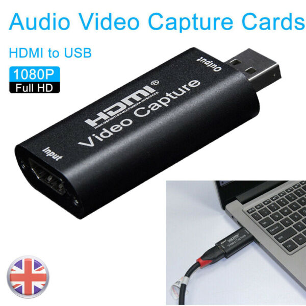 UK HDMI to USB Video Capture Card 1080P For Game / Live Streaming Portable
