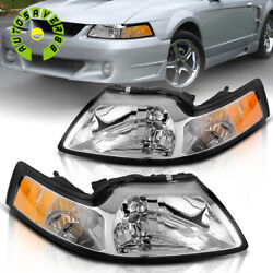 Kyпить For 1999-2004 Ford Mustang Chrome Housing Headlights Amber Corner Signal Lamps на еВаy.соm