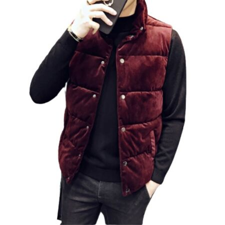 img-Winter Men's Quilted Waistcoat Pleuche Vest Padded Sleeveless Jacket Warm New D