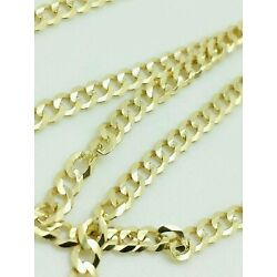Kyпить 14K Solid Yellow Gold Cuban Chain Necklace 2.4MM 16