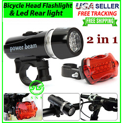 Kyпить Bike Bicycle Light 5 LED Rear Safety + Front Head FLASHLIGHT Waterproof Lamp   на еВаy.соm