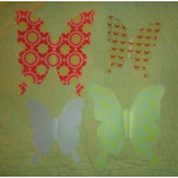 AVON*Set of 4*Three dimensional Wall Butterfiles Butterfly Plastic Pink Green