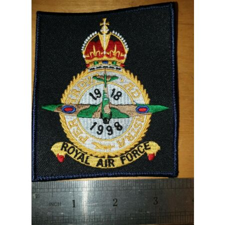 img-Royal Air Force 80th Anniversary Patch/Badge 1918-1998 Kings Crown (ref box 5)