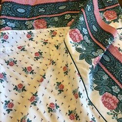 Vintage Lady Pepperell Queen Flat Sheet Rose Floral No Iron Percale