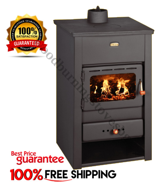 BulgarieWood Burning Stove Cast Iron Top Black Prity K2CP New 10 kw.