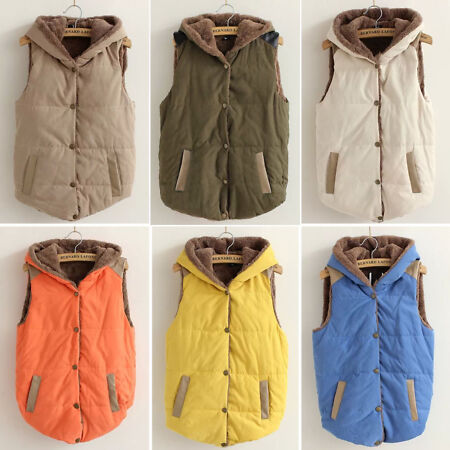 img-Women Sleeveless Hoodie Vest Quilted Padded Gilet Body Warmer Button Waistcoat