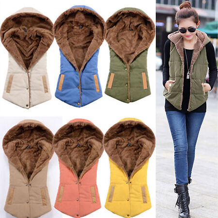 img-Women Sleeveless Hooded Vest Fleece Quilted Gilet Body Warmer Button Waistcoat