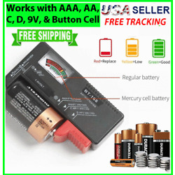Kyпить Battery Tester Checker Universal For AA AAA C D 9V 1.5V Button Cell Batteries US на еВаy.соm