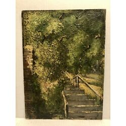 """Kyпить New York 1870-80  Impressionist Landscape """" Stairs In The Park"""" Thickly Painted на еВаy.соm"""