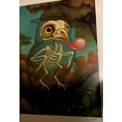 "Kyпить Chris Buzelli ""Owl Skeleton"" Canvas Signed на еВаy.соm"